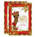 Prince Baby Shower Red Gold White Ethnic Invitation