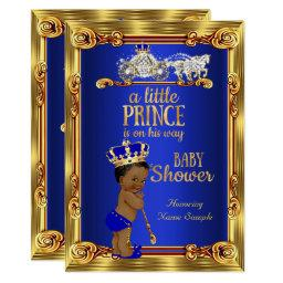 Prince Baby Shower Royal Blue Gold Carriage Ethnic