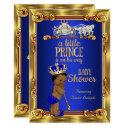 Prince Baby Shower Royal Blue Gold Carriage Ethnic Invitations