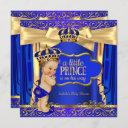 Prince Baby Shower Royal Blue Gold Drapes Brunette Invitation
