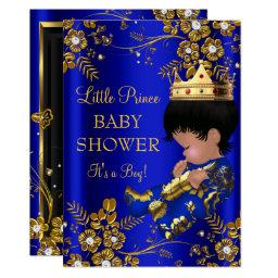 Prince Boy Baby Shower Blue Gold Invitations