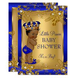 Prince Boy Baby Shower Gold Blue African American