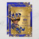 Prince Boy Baby Shower Gold Blue Crown Ethnic Invitation