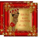 Prince Boy Baby Shower Gold Red African American Invitation