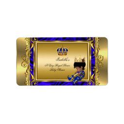 Prince Royal Blue Baby Shower Regal Gold Boy Label