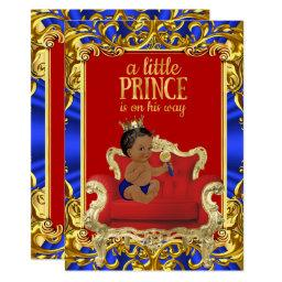 Prince Royal Blue Red Throne Baby Shower Ethnic