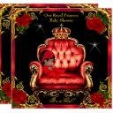 Princess Baby Shower Girl Gold Red Rose Chair 4 Invitations
