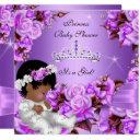 Princess Baby Shower Girl Purple Pink Rose Bow 2 Invitations
