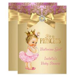Princess Baby Shower Pink Gold Ballerina Blonde Invitation