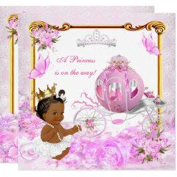 Princess Baby Shower Pink Gold Carriage Ethnic