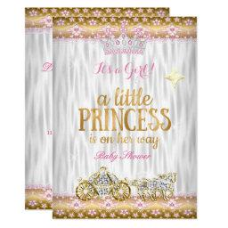 Princess Baby Shower Pink Gold White Carriage