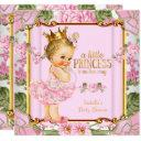Princess Baby Shower Pink Rose Floral Blonde Girl Invitation