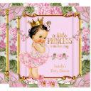 Princess Baby Shower Pink Rose Floral Brunette Invitation