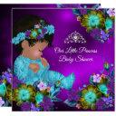 Princess Baby Shower Teal Blue Purple Girl Ethnic Invitation