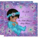 Princess Baby Shower Teal Blue Purple Pink Ethnic Invitation