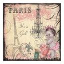 Princess Eiffel Tower & Chandelier Baby Shower Invitation