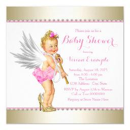 Princess Pearl Pink Gold Angel Girl Baby Shower