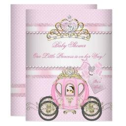 Princess Pretty Baby Shower Cute Girl Carriage Invitations