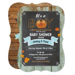 Pumpkin Baby Shower Invitations Rustic Wood Chalk