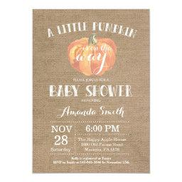 Pumpkin Fall Baby Shower Invitations Burlap