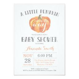 Pumpkin Fall Baby Shower  Orange Gray