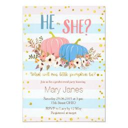 Pumpkin Fall Gender Reveal Invitations