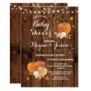 Pumpkin Party Baby Shower Fall Rustic Wood Invite