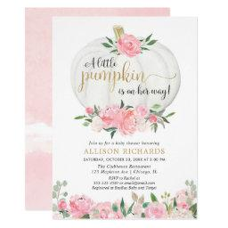 Pumpkin Pink Gold Floral Fall Girl Baby Shower Invitation