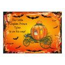 Pumpkin Prince Halloween Boy Baby Shower Invitations