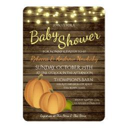 Pumpkins and Lights Rustic Autumn Baby Shower