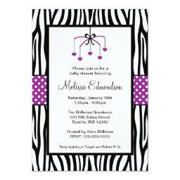 Purple and Black Zebra Heart Mobile Baby Shower