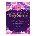 Purple And Gold Floral Baby Shower Invitation