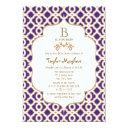 Purple And Gold Moroccan Baby Girl Baby Shower Invitation