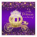 Purple And Gold Princess Carriage Baby Shower Invitations