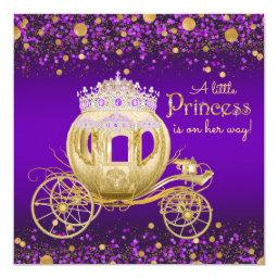 Purple And Gold Princess Carriage Baby Shower Invitation