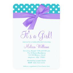 Purple and Teal Bow Polka Dot Baby Shower