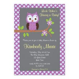 Purple Damask Owl Baby Shower