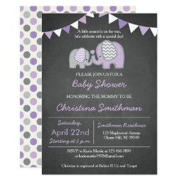 Purple Elephant Baby Shower Invitations