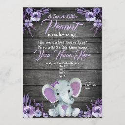 Purple Elephant Baby Shower Invitation Rustic