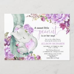 Purple Elephant Girl Floral Baby Shower Invitation