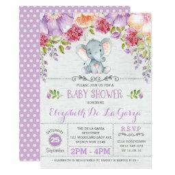 Purple Floral Elephant Baby Girl Shower