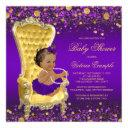Purple Gold Chair Ethnic Ballerina Baby Shower Invitation