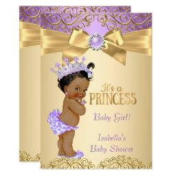 Purple Gold Damask Princess Baby Shower Ethnic Invitation