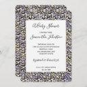 Purple Gold Leopard Print Baby Shower Invitation