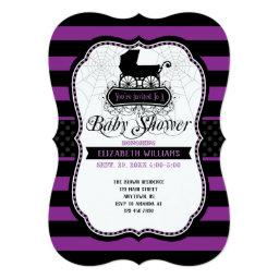 Purple Gothic Halloween Baby Shower Invitations