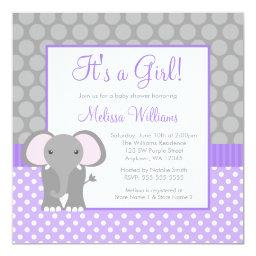 Purple Gray Elephant Polka Dot Girl Baby Shower