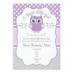 Purple Gray Little Owl Baby Shower Invitation