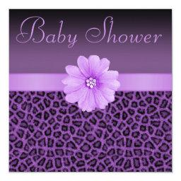 Purple Leopard Print & Bling Flower Baby Shower