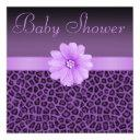 Purple Leopard Print & Bling Flower Baby Shower Invitation