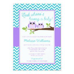 Purple Owl Teal Chevron Girl Baby Shower